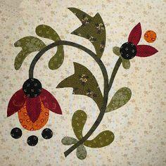 Sue Garman: Part One: Workshops, Retreats, a Mystery. Lots of applique blocks! Flower Applique Patterns, Applique Templates, Hand Applique, Quilt Block Patterns, Wool Applique, Applique Quilts, Quilt Blocks, Skirt Patterns, Coat Patterns