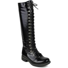 Mark and Maddux Women's Kevin-04 Side-Zipper Knee High Combat Boot ($49) ❤ liked on Polyvore featuring shoes, boots, black, work boots, knee-high lace-up boots, leather combat boots, black lace up boots and leather work boots