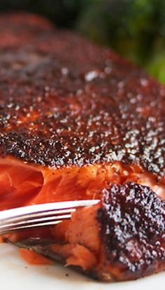 Maple Glazed Salmon _ I love the layer of goodness it coats on the top of the fish, & the flavor it brings. Mike's mom made a delicious salmon dish, & she mentioned it using brown sugar & maple syrup, & having a rub on it. Brilliant. I knew it needed some adaptation! So. Good.