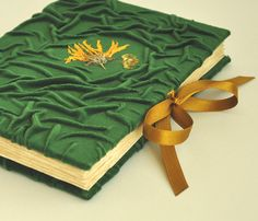 green wedding guest book, velvet journal with dried flowers, old paper, jounal, bottle green, i do, bridal book,alternative guest book