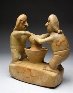 """Pre-Columbian, from Northern Peru, Mochica I, Ca 100 to 200 CE. Terracotta vessel showing two male figures making Chicha - a form of fermented corn beer. Figures stand upon a decorated platform squeezing a cloth filled with fermented corn. Extremely rare iconography! 7-1/2""""H x 7""""W."""