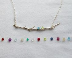 Family Branch necklace - unique birthstone necklace - perfect for Mom or Grandma.  Love how realistic the branch looks!