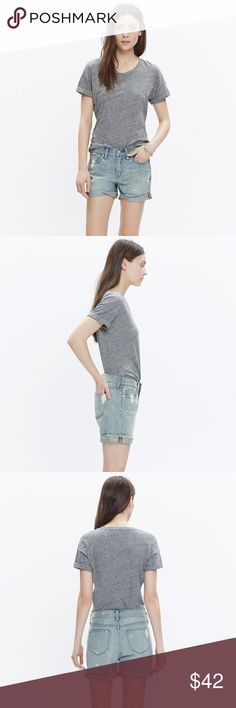 """MADEWELL Denim Boyshorts: Painter Edition Our denim shorts are made to fit just right—not too baggy, not too tight. Plus, they hit at the perfect place on the thigh to ensure maximum cool-girl legginess. We love the way the artfully hand-painted details give these perfectly faded cutoffs a lived-in look. 🌟 Excellent condition!  True to size, fixed waistband. 5"""" inseam. Cotton. Machine wash. Madewell Shorts Jean Shorts"""