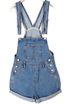 Rolled Cuffs Blue Denim Suspender Shorts 23.67