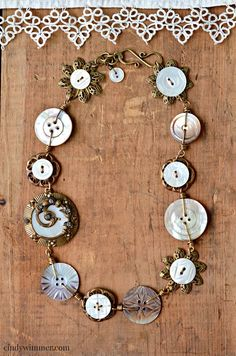 Mother of pearl button and wirework necklace by Cindy Wimmer
