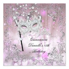Pink Quinceanera 15th Birthday Tiara Masquerade Card