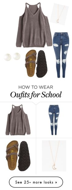 """Back to school"" by vyctoria-stange on Polyvore featuring Topshop, Birkenstock, Full Tilt and Banana Republic"