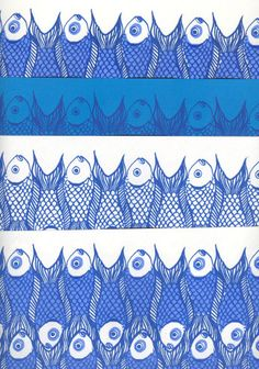 4 sheets Hand silkscreen printed fish wrapping paper in original design  by:-nantdesigns