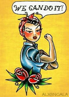 Sailor jerry style rosie the riveter tattoo