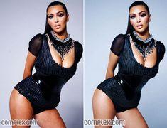 Kim Kardashian before and after photoshop.