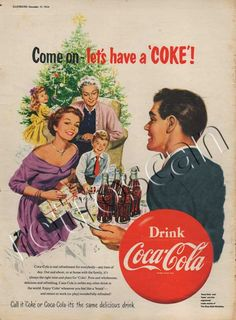 Vintage 1954 Coca Cola Christmas Ad without Santa