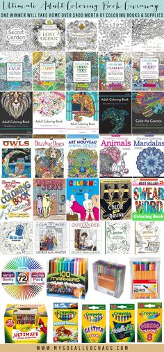Adult Coloring Books are IN right now-you could win an Ultimate Adult Coloring Book Giveaway with tons of books and supplies tailored to your taste!