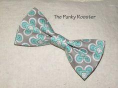Gray and Aqua-Mint Bow Tie Clip on Bow Tie Boys by ThePunkyRooster. Mint green aqua bow tie  beach wedding