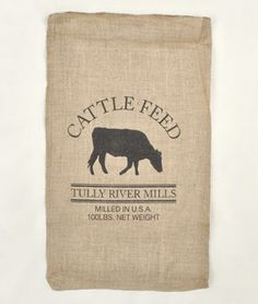Cattle Feed Sack Reproduction.  They come already made, you just fill it with whatever to make a pillow