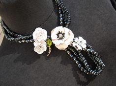 Reclaimed Vintage Necklace  Enamel Flower by JenniferJonesJewelry, $109.00