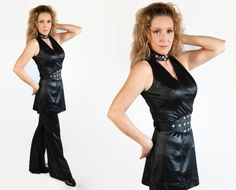 70s Pantsuit / Bombshell / Rocker Chic / Black / Costume / Mini Dress / Bell Bottoms by PetticoatsPlus on Etsy