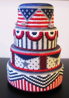 Needlepoint Americana Cake Canvas