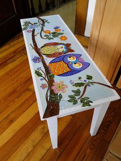 """to create some whimsical owls for the bench I had selected to paint...my hope is that it will bless its new environment with smiles for years to come!"""""""