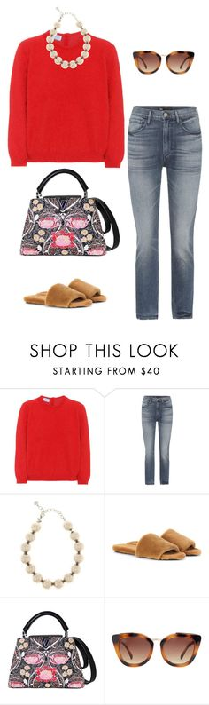 """""""Untitled #580"""" by mechi13 ❤ liked on Polyvore featuring Prada, 3x1, Oscar de la Renta, The Row, Louis Vuitton and MANGO"""