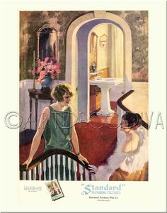 Vintage 1920s ART DECO Beauty Glamour Flapper Girls BATHROOM Sink Decorating Advertising Poster Art Print