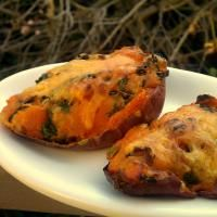 Twice-baked sweet potatoes with kale and cheddar! #fall #thanksgiving #yum!