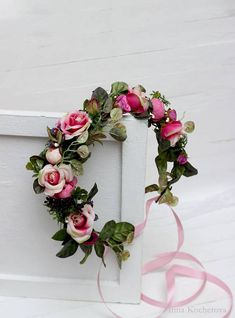 Floral hair wreath of hot pink green wedding flower crown - DIY WEDDİNG Pink Green Wedding, Fall Wedding Flowers, Flower Crown Wedding, Crown Flower, Flower Crowns, Bridesmaid Hair Flowers, Flowers In Hair, Fabric Flowers, Floral Hair