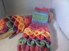 Dark pastel fingerless gloves, wristwarmer gloves, shell edging at top, fingerless mittens,  crocodile stitch, winter gloves,  hand crochet
