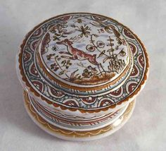 Antique Hand Painted Porcelain Round Trinket Box Made in Portugal Artist Signed