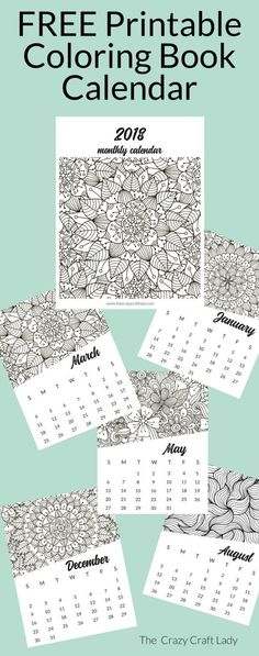 Free Printable 2018 Adult Coloring Calendar