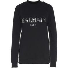 Balmain Logo-Print Cotton-Jersey Sweatshirt (£335) ❤ liked on Polyvore featuring tops, hoodies, sweatshirts, nero, long sleeve sweatshirts, cotton jersey, long sleeve tops, balmain sweatshirt and round neck sweatshirt
