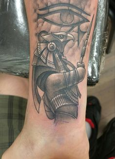 Horus and the Eye of Horus by Adam at Aggression Tattoo in Whitehall PA.