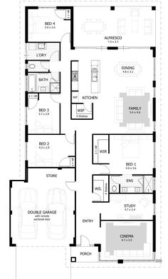 14 Floor Plan Ideas for 4 Bedroom House Floor Plan Ideas for 4 Bedroom House. 14 Floor Plan Ideas for 4 Bedroom House. 4 Bedroom House Plans & Home Designs Celebration Homes Four Bedroom House Plans, 4 Bedroom House Designs, Floor Plan 4 Bedroom, House Plans One Story, Ranch House Plans, Country House Plans, Story House, House Floor Plans, Bedroom Ideas