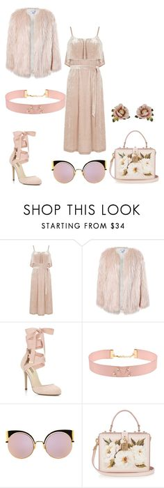"""Nude/ Beige New Years Outfit"" by queenprincessliarra ❤ liked on Polyvore featuring Warehouse, Sans Souci, Miss Selfridge, Johnny Loves Rosie, Fendi, Dolce&Gabbana and Les Néréides"