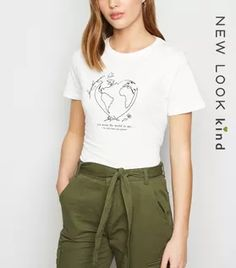 Shop White You Mean the World Slogan T-Shirt. Discover the latest trends at New Look. White Cosmo, Tie Waist Trousers, White Flamingo, Prince Purple Rain, Lace Print, Rock T Shirts, White Shop, Slogan, New Look