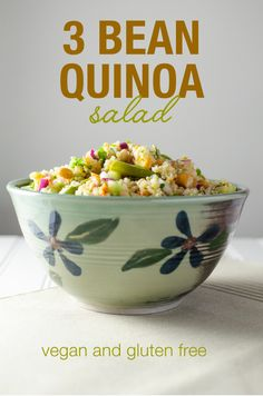 3 Bean Quinoa Salad with lime dressing | VeggiePrimer.com