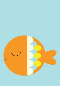 Baby Fish Poster Modern Animal Illustration by Sealandfriends, $10.50