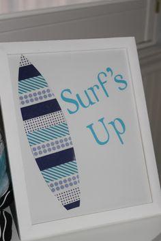 DIY Surfboard Decor Washi Tape