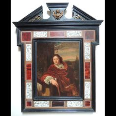 Portrait of man with a cane. This composition is a free interpretation of a painting of Frans #Van #Mieris. #Oil on wood #panel. The painting is presented in a superb Italian blackenedwood frame, decorated with #bronze pieces on the pediment, tortoise shell plates and bone plates with leaves decor. #Flemish School, 18th century. For sale on Proantic by Art & Antiquities Investment.