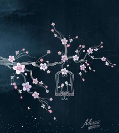 Chalkboard Spring Tree and Bird Cage Clipart by MOSAICSHADOW Pretty!
