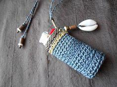 Lighter Case Necklace Lighter Holder pale blue taupe &