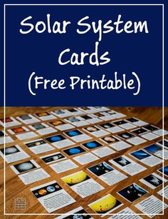Solar System Cards by ResearchParent.com - A free printable of 24 terms related to our Solar System included all the planets, sun, moon, asteroid belt, Kuiper belt, types of planets and space objects.