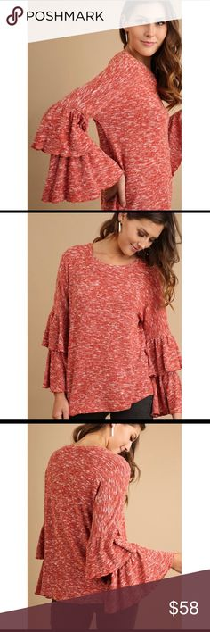 Layered Belle Sleeve Marled Top Super sexy and feminine layered belle sleeve marled top in burnt orange with gorgeous ruffled sleeves Glamvault Tops