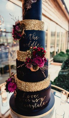 100 Pretty Wedding Cakes To Inspire You Fabmood Wedding Colors Wedding Themes Wedding color palettes Pretty Wedding Cakes, Wedding Cake Roses, Unique Wedding Cakes, Wedding Cake Designs, Unique Weddings, Gold Weddings, Black Wedding Cakes, Indian Weddings, Cake For Wedding