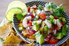 Shrimp ceviche with cucumber, cilantro, serrano chiles and avocado - #paleo #lunch #dinner