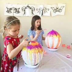 We're decorating our giant papier-mache Easter eggs today!
