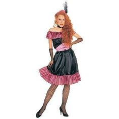 Adult Saloon Girl Costume, Ladies Standard (Up to Dress size 12)