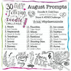 30 Day Lettering + Doodle Challenge: August Prompts | dawnnicoledesigns.com #DNDChallenge