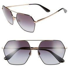 Women's Dolce&gabbana 59Mm Retro Sunglasses (3.197.040 IDR) ❤ liked on Polyvore featuring accessories, eyewear, sunglasses, matte black, retro style glasses, etched glasses, matte glasses, retro glasses and retro sunglasses