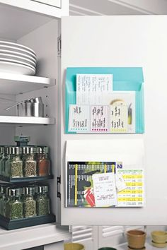 Find take-out menus, dry cleaner tickets, stamps and other stray papers when you need them. Sort everything into categories and file in Post-it Pockets, which stick on the inside of kitchen cabinet doors.