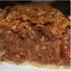German Chocolate Pie 1c light corn syrup, 3 large eggs, 1c sugar, 2 T butter, melted, 1 t vanilla extract, 2 c chopped pecans, 3/4 c flaked coconut, 3/4 c semisweet chocolate chips 1 pie crust (9 inch)Preheat oven 350. Mix corn syrup, eggs, sugar, butter,& vanilla on medium speed until well blended. Stir in pecans &coconut. Sprinkle choc chips over bottom of pie crust. Pour corn syrup mixture over choc chips. Bake in preheated oven until top is set, 55 to 60 min. Cool before serving.